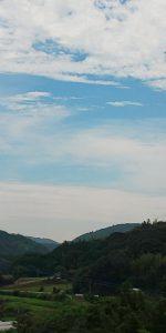 今朝の我が家から見える晴れわたる空